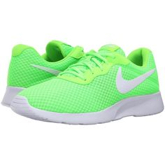 Nike Tanjun (Electric Green/White) Men's Running Shoes ($65) ❤ liked on Polyvore featuring men's fashion, men's shoes, men's sneakers, mens shoes, mens lace up shoes, mens breathable shoes, mens green shoes and mens white shoes