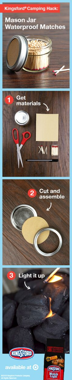 Keep your matches dry with this DIY match storage! Simply cut and glue sandpaper to the top of your lid, fill it with strike anywhere matches, secure the lid and voila: dry matches for camping. Get started now at Target! Materials needed: Mason jar, strike anywhere matches, sandpaper, scissors, glue (optional).