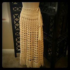VINTAGE CROCHET SKIRT!!! COACHELLA HERE I AM!!! JUST IN...Beautiful vintage crochet boho skirt. Can't get anywhwre else. Just Beautiful. Perfect for Coachella. In Great condition. Vintage Skirts Maxi