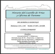 Horario de apertura de la Oficina de Turismo de Frías y del Castillo de la Ciudad