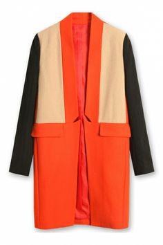 Oasap  Notched Detail Color Block Wool-blend Coat - great color blocking.