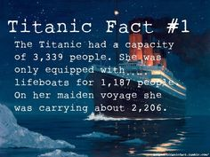 Titanic had a capacity of people. She was only equipped with. lifeboats for people. On her maiden voyage she was carrying about Rms Titanic, Titanic Sinking, Titanic Ship, Titanic History, Titanic Movie, Ancient History, Titanic Photos, Nasa History, Mystery