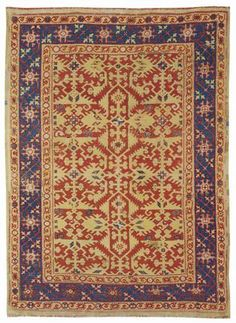 UŞAK 'Lotto' carpet, late 16th century.  163 x 114 cm.  (Christies)