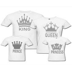 King - Queen - Prince - Princess Konseptli Aile Kombini, doğum günü aile kombin modelleri, baskılı aile komin kıyafetleri, doğum günü kıyafetleri