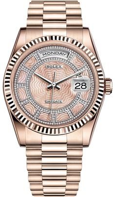 Rolex Oyster Day-Date 36 mm Everose Gold Diamond Pink Mother-of-Pearl Carousel Dial President Bracelet Midsize Watch Reference Brand Name Watches, Big Watches, Best Watches For Men, Cool Watches, Rolex Watches, Luxury Watches, Rolex Cellini, Rolex Air King, Rolex Explorer