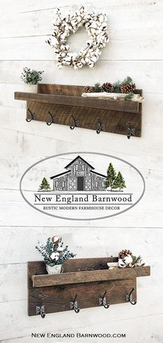 Country//Farmhouse//Cottage//Primitive Rustic Wood Entryway Rack