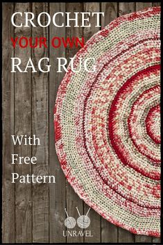 Crochet Your Own Rag Rug (Free Pattern).                                                                                                                                                                                 More