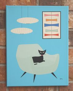 11 X 14 mid-century inspired painting, at Etsy.