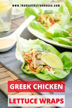 These Greek chicken lettuce wraps full of Mediterranean flavors! #Glutenfree, #Keto, #Whole30, #Atkins, #DASH, #Mediterranean, and (especially with the orange) kid-friendly. It can be a perfect lightweight and colorful dinner. #EASYDINNER #dinnerideas #dietrecipe #loseweight #allergyfreerecipe #glutenfreewrap #letuccewrap #chickenwraps #lunchrecipes #kidmeals Wrap Recipes, Lunch Recipes, Diet Recipes, Breakfast Recipes, Healthy Recipes, Gluten Free Wraps, Chicken Lettuce Wraps, Allergy Free Recipes, Greek Chicken