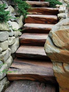 Natural stone wall in the garden or at home? Obsolete wooden steps in the garden look particularly beautiful and natural. In modern cities, it is almost impossible b. Garden Paths, Garden Landscaping, Landscaping Ideas, Stone Landscaping, Garden In The Woods, Home And Garden, Natural Stone Wall, Natural Wood, Natural Stones