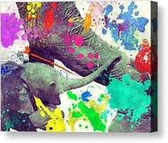 Animals Mixed Media Canvas Prints - Painting Elephants Canvas Print by Philip Sweeck