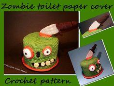 crochet pattern, zombie toilet paper cover, PDF