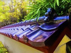 """""""Morikami Museum Ceramic Roof Tiles"""" by Ginette Callaway: Morikami Museum and Japanese Gardens is located in west of Delray Beach in Palm Beach County Florida. These are beautiful black roof tiles. Original photograph that I digitally messaged to create t..."""