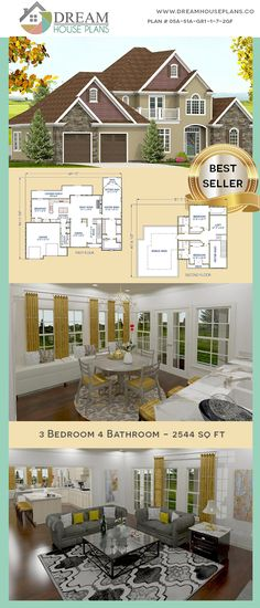 Dream House Plans: Popular Southern 3 Bedroom, 2544 Sq. Ft. house plan with custom home plan options.    We custom design 1000's of home plans & house blueprints.  Choose from our exclusive collection of unique, small & luxury open floor plans many with a wrap around porch or a basement. Select from 5 bedroom, 4 bedroom, 3 bedroom or we can create one for you!  #Popular  #Southern  #Open Floor  #With Basement   #HousePlan  #HomePlans  #HousePlansWithPorches  #DreamHousePlans Porch House Plans, 4 Bedroom House Plans, Dream House Plans, House Floor Plans, Custom Home Plans, Custom Homes, Craftsman Cottage, House Blueprints, Open Floor