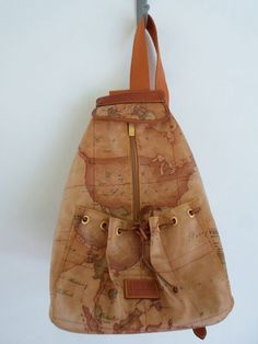 Prima Classe Authentic Tan Map Print Rubber Leather Recent Make Backpack Ebay