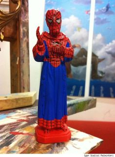 Statue of St. Pio of Pietrelcina made to resemble Spider-Man by Scalisi Paminteri