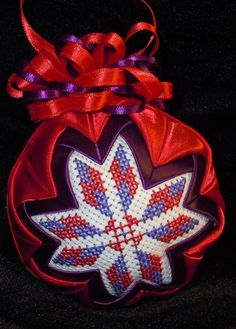 Purple and Red Quilted Ornament by OrnamentsFromHome on Etsy, $20.00 Folded Fabric Ornaments, Quilted Ornaments, Beaded Christmas Ornaments, Ball Ornaments, Christmas Balls, Christmas Decorations, Fabric Balls, Fabric Ribbon, Crochet Snowflakes