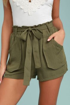 The Moon River Acadia Olive Green Shorts are ready for a nature hike, or just hanging out! A ruffled, elastic waist and tying sash, tops these chic woven shorts with a high-waisted fit and cargo pockets.