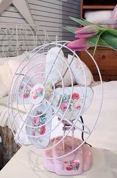 Pink Rose Painted Fan