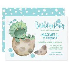 Wild One Dinosaur Triceratops Boy's 1st Birthday Invitation 1st Birthday Invitations, Baby Shower Invitations For Boys, Baby Shower Themes, Baby Boy Shower, Shower Ideas, Boy Baby Showers, Party Invitations, Boy First Birthday, Boy Birthday Parties