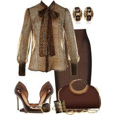 """Chiffon Leopard Shirt"" by marisol-menahem on Polyvore"