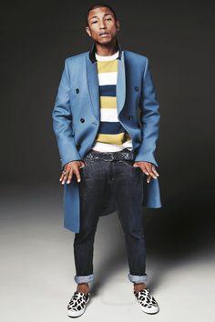 Pharrell Williams wearing  Céline Leopard Skin Slip On Shoe, Billionaire Boys Club SP15 Raw Denim, Chanel Lambskin Quilted Leather Belt, Maison Kitsuné Striped Lambswool Sweater , Gucci Velvet Collar Coat