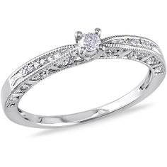 Miadora Sterling Silver Diamond Promise Ring (£74) ❤ liked on Polyvore featuring jewelry, rings, white, sterling silver jewelry, diamond band ring, pave diamond ring, long sterling silver rings and round cut diamond rings
