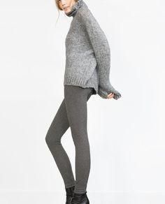 Image 4 of JACQUARD HERRINGBONE LEGGINGS from Zara