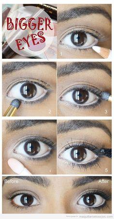 Tutorial para aprender un maquillaje de ojos para agrandar ojos