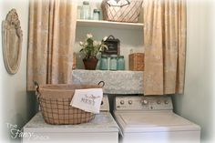 Laundry Room Makeover - this is a doable and inexpensive way to dress up a small laundry area, while adding storage - perfect for a rental - via The Fancy Shack