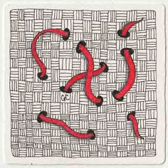 red string tangle for laura harms' (i am the diva) weekly zentangle challenge, week 49 | by genevieve crabe of amaryllis creations