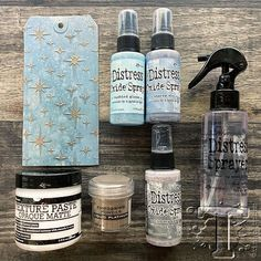 Tim Holtz Distress® Oxide® Spray is a dye and pigment ink fusion that creates oxidized effects when sprayed with water. Use for quick and easy ink coverage on porous surfaces. Spray through stencils, layer colors, spritz with water and watch the color mix and blend. Available in 12 colors each in a 2 fl. oz. spray bottle. The colors in set #5 include: Aged MahoganyDusty ConcordFestive BerriesGathered TwigsHickory SmokeOld PaperPine NeedlesRipe PersimmonShabby ShuttersStormy SkyTumbled GlassWild Distress Ink Techniques, Embossing Techniques, Tim Holtz Distress Ink, In Distress, Paper Crafts Magazine, Distress Oxide Ink, Ink Stamps, Heartfelt Creations, Color Mix