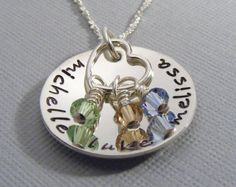 Personalized -Mommy Necklace-Hand Stamped - Sterling Silver -Childrens Names- Heart Charm & Birthstones. $48.00, via Etsy.