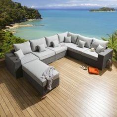 75abc01f8338 Rattan Outdoor Garden U Shape Corner Sofa Set Group Stone / Grey U1 ...