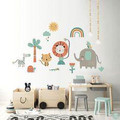 Vinilo animales selva feliz elefante león para la decoración de las habitaciones infantiles a la venta en la tienda online de vinilos infantiles Decohappy. Boutique Interior, Baby Boutique, Dorm Room, Baby Room, Nursery, Baby Shower, Kids, Color, Anastasia