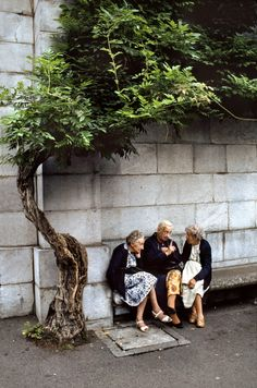 Elderly Parisiennes chatting on a bench