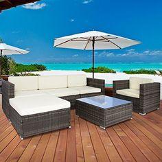 6 Piece Outdoor Patio Garden Furniture Wicker Sofa Set Sectional 1 Table 5 Chair…