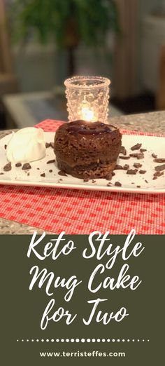 This dessert, made for two, is served warm and gooey for a decadent experience. SOOO good and rich.  Try some keto friendly ice cream on top for an extra bit of swooning!  #valentinesdaydessert #ketodessert  #ketomugcakes #ketovalentines