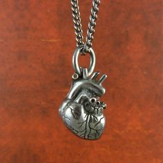 Anatomical Heart Necklace  Small Black Sterling by LostApostle, $125.00