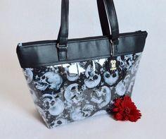 Handmade Skull Purse // Vinyl Purse // Horro Purse // vegan purse // skull bag // skull handbag // Made in Canada (160.00 CAD) by HoneyBagger