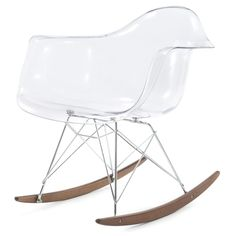 RockMoi Modern Rocking Armchair In Clear And Goldton Wood - Overstock™ Shopping - Great Deals on Living Room Chairs Home Goods Chairs, Eames Rocker, Reading Nook Chair, Wooden Rocker, Clear Chairs, Ergonomic Computer Chair, World Market Dining Chairs, Cool Chairs, Mid Century Design