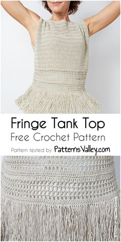 Fringe Tank Top Free Crochet Pattern [Free Crochet Pattern] #crochet #croptop #freecrochetpattern #crochetpatternforcrop #yarn #stitch #beginner