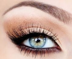 for this beautiful natural eye look, apply a cream/white shade under the brows, apply a shadow in the same color as your skin all over lids, apply a tan shadow or a shadow 4 to 5 shades darker than your skin on your outer V and crease, and apply a deep brown/plum color on your bottom lashline