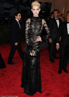 "Anne Hathaway at the 2013 Met Ball. She nailed the ""punk"" theme"