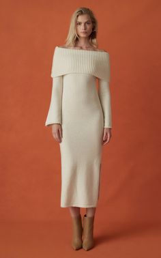 Get inspired and discover Cult Gaia trunkshow! Shop the latest Cult Gaia collection at Moda Operandi. Long Sweater Dress, Wool Dress, Knit Dress, Winter Dresses, Casual Dresses, Fashion Dresses, Winter Outfits, Faux Shearling Coat, Satin Midi Skirt