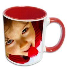Mug 325ml rouge à personnaliser avec une jolie photo pour un petit déjeuner dans la bonne humeur #Tasse #Mug