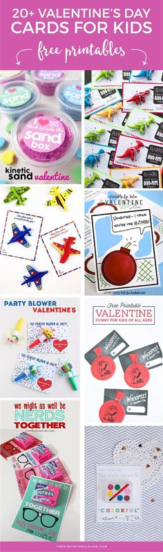 "Valentine Free Printables | Looking for free printable Valentine's day cards that aren't the run of the mill ""big box"" style cards? Then click through to check out over 20 of the cutest Valentines for boys and girls."