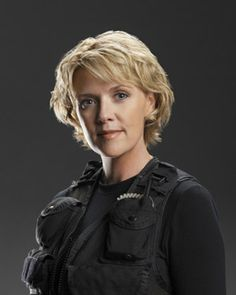 A sweep-bang is as bangy as I'd want to go right now. Samantha Carter of Stargate SG-1 Photo of Amanda Tapping.