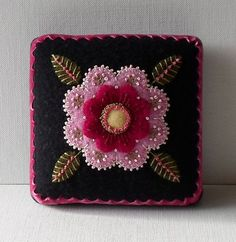 Handmade Needle Cushion Felted Wool Pink by QuiltShenanigans