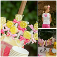 Bloom Designs - lemon lollipops with assorted ribbons to tie bag closed ... adorable ribbon garland decorations too